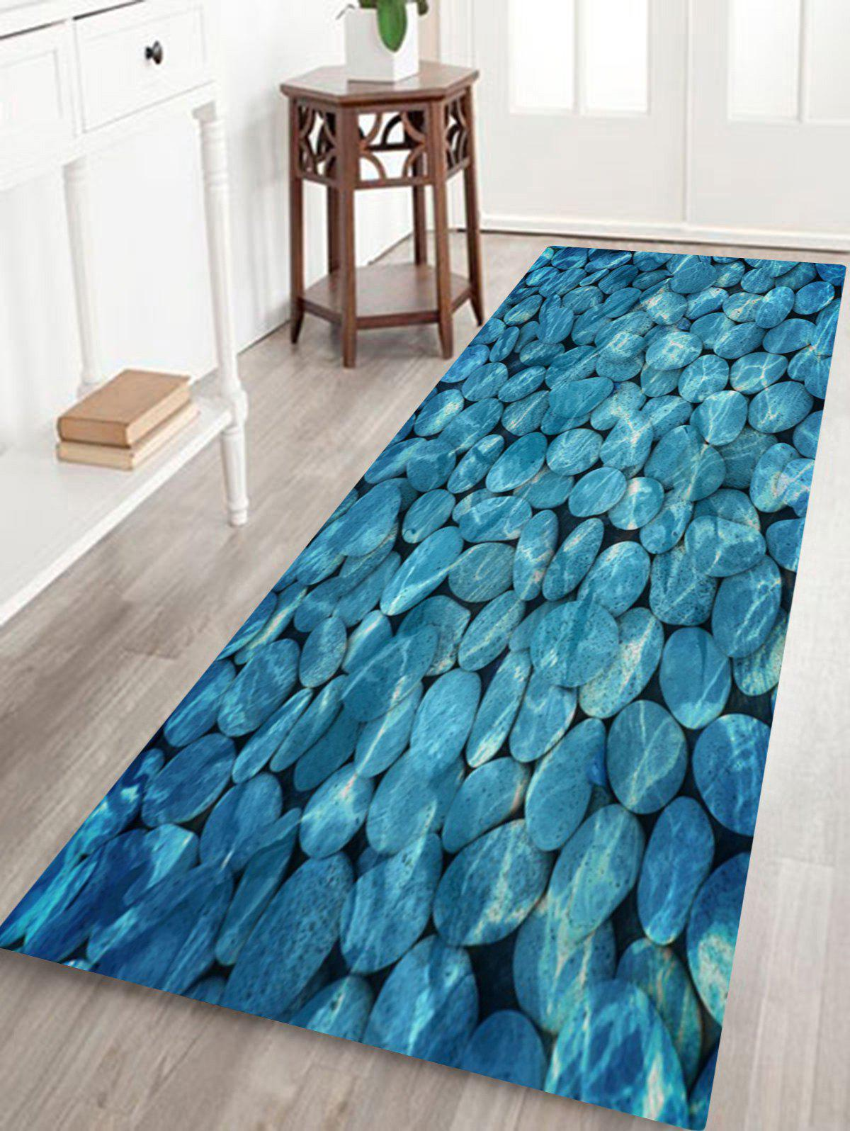 Pebbles In Water Pattern Indoor Outdoor Area Rug - LAKE BLUE W16 INCH * L47 INCH