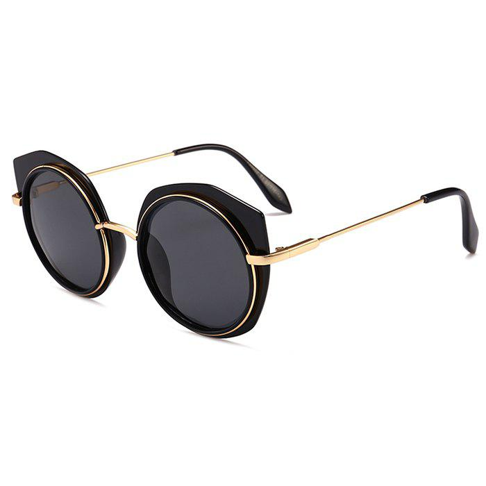 Anti UV Metal Frame Eyebrow Round Sunglasses - DOUBLE BLACK