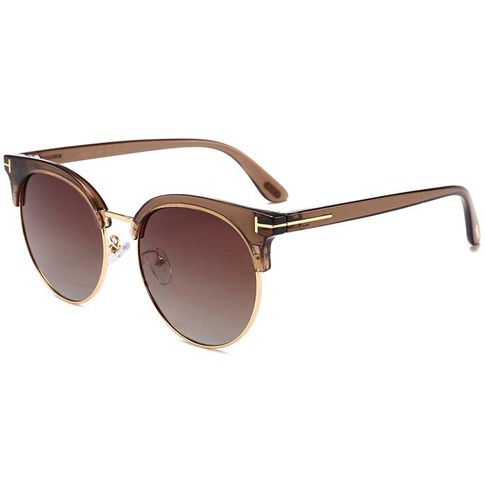 Anti-fatigue Letter T Decorative Sun Shades Sunglasses - BROWN FRAME / GREY LENS