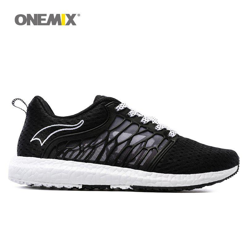 ONEMIX Outdoor Breathable Mesh Lightweight Running Shoes - WHITE/BLACK 35