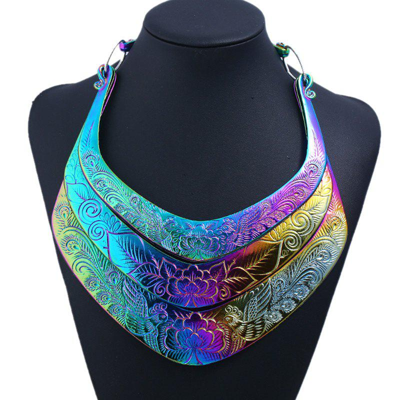 Metal Peacock Flower Necklace - COLORMIX