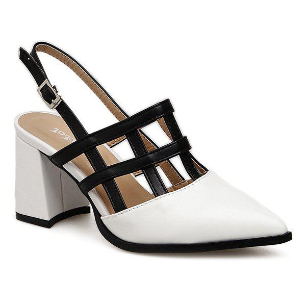 Hollow Out Chunky Heel Slingback Pumps - WHITE 35
