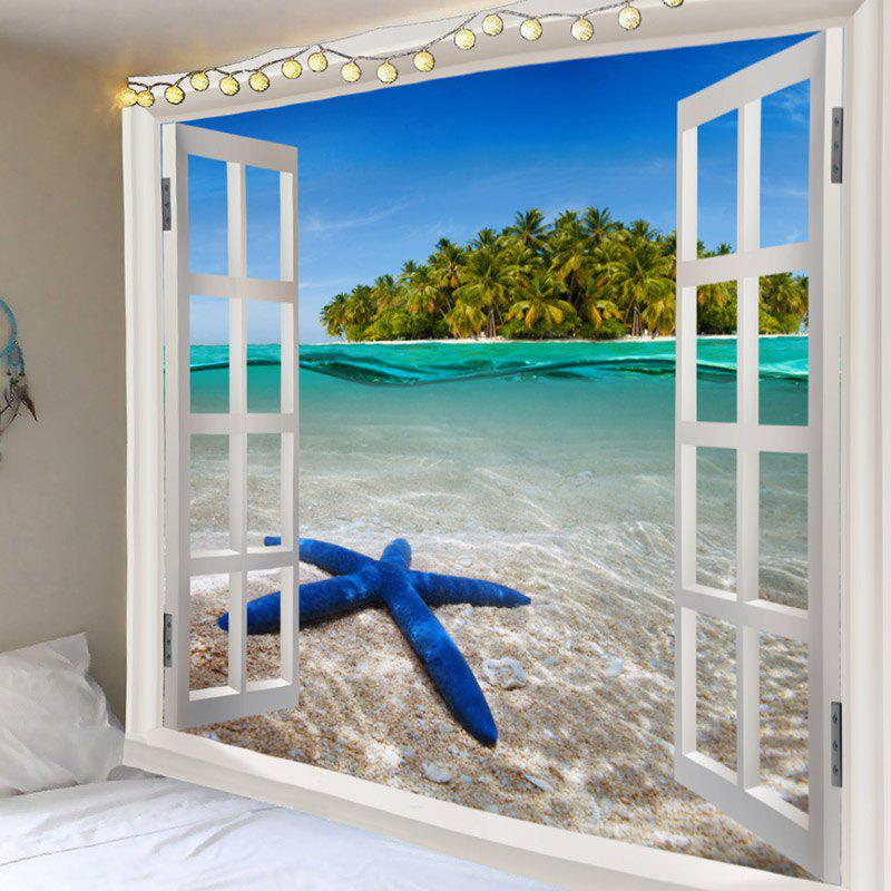 Window Outside Starfish Sea Island Printed Decorative Tapestry - COLORFUL W79 INCH * L71 INCH