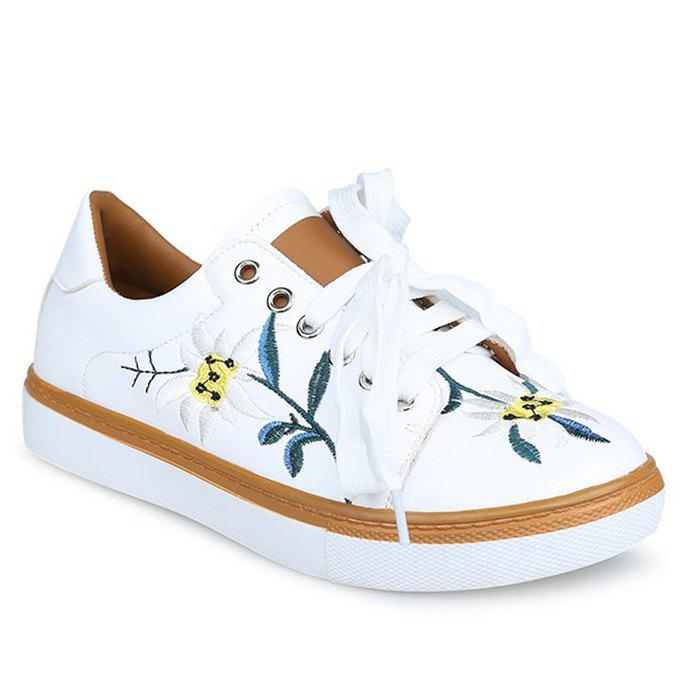 Artificial Leather Floral Embroidered Sneakers - WHITE 36