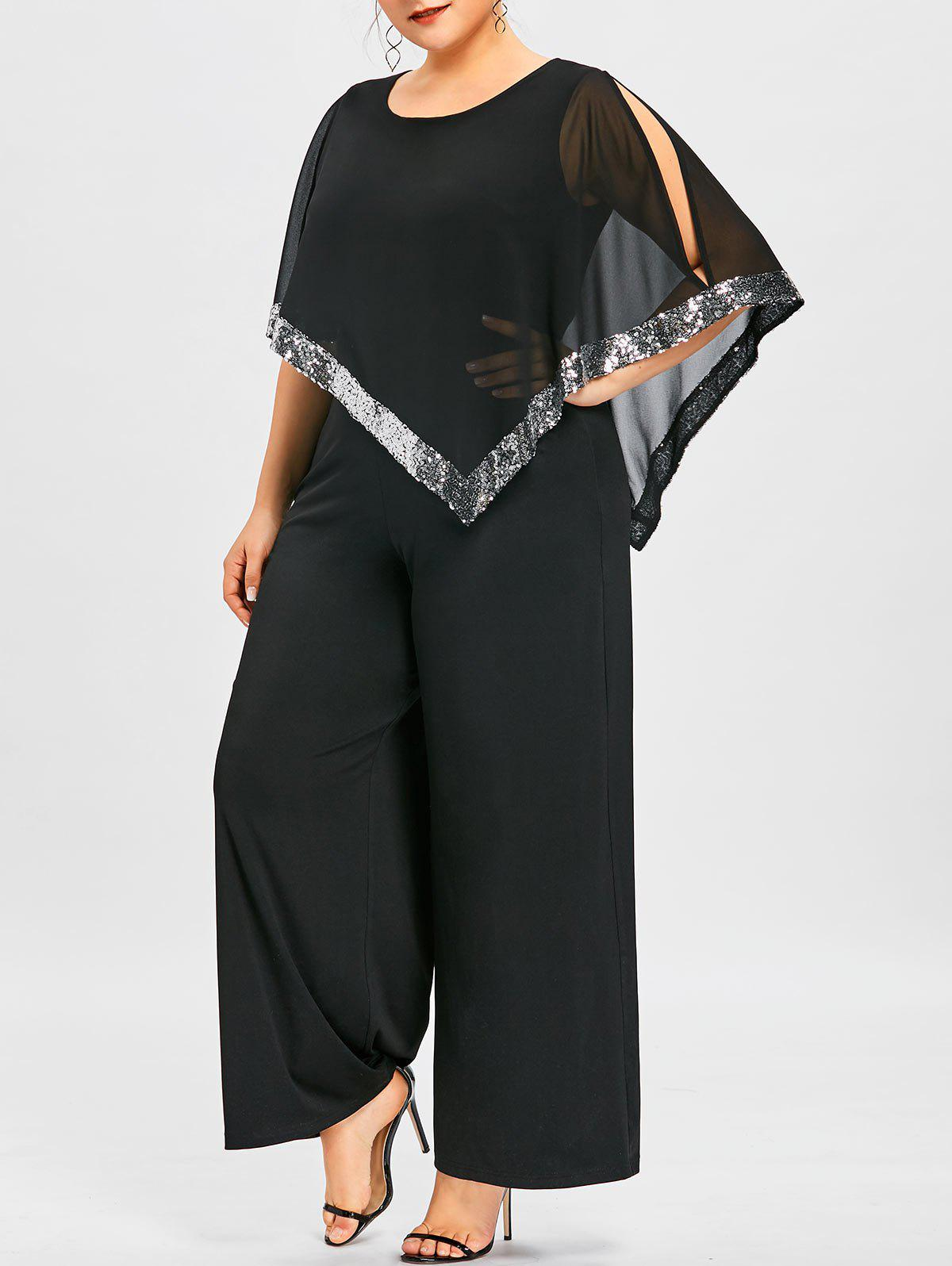 Plus Size Overlay Sequined Wide Leg Jumpsuit - BLACK 3XL
