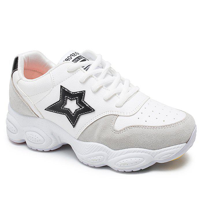 Round Toe Star Patched Sports Shoes - BLACK 40