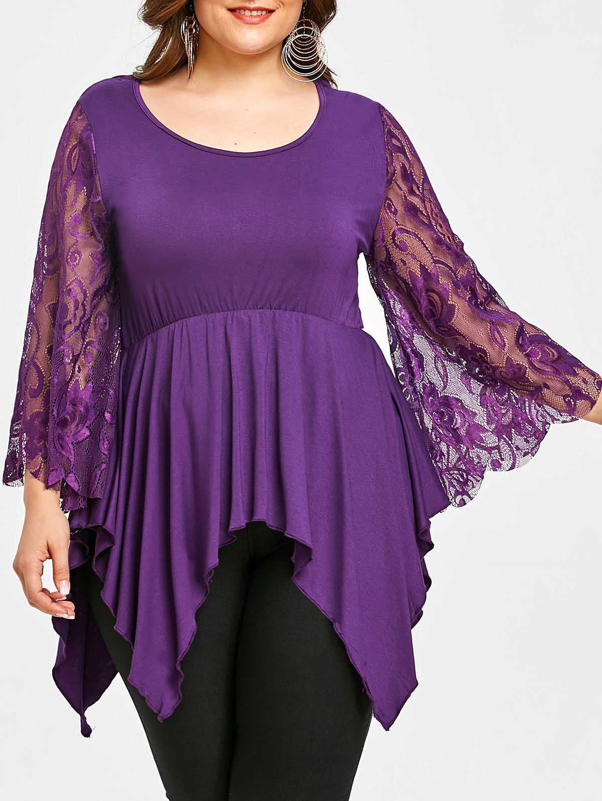 Lace Sleeve Plus Size Asymmetrical Handkerchief T-shirt - PURPLE 5XL