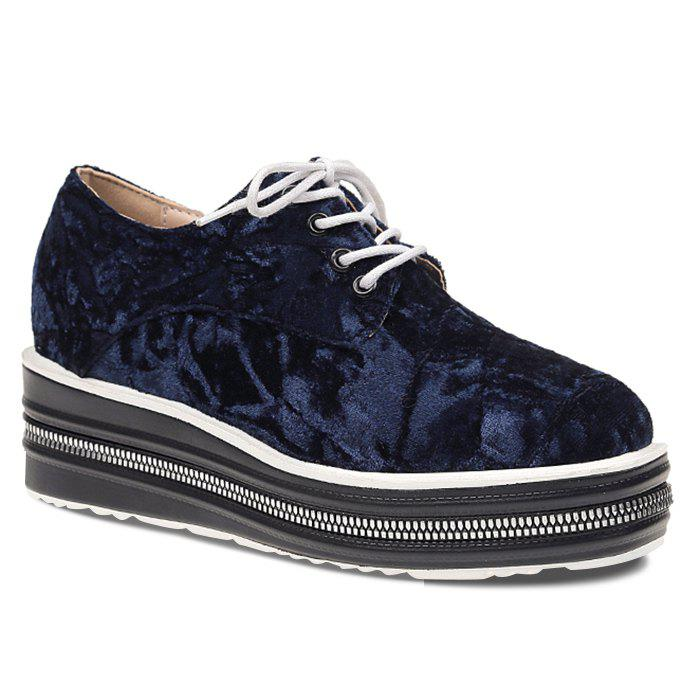 Lace Up Velvet Platform Shoes - BLUE 37