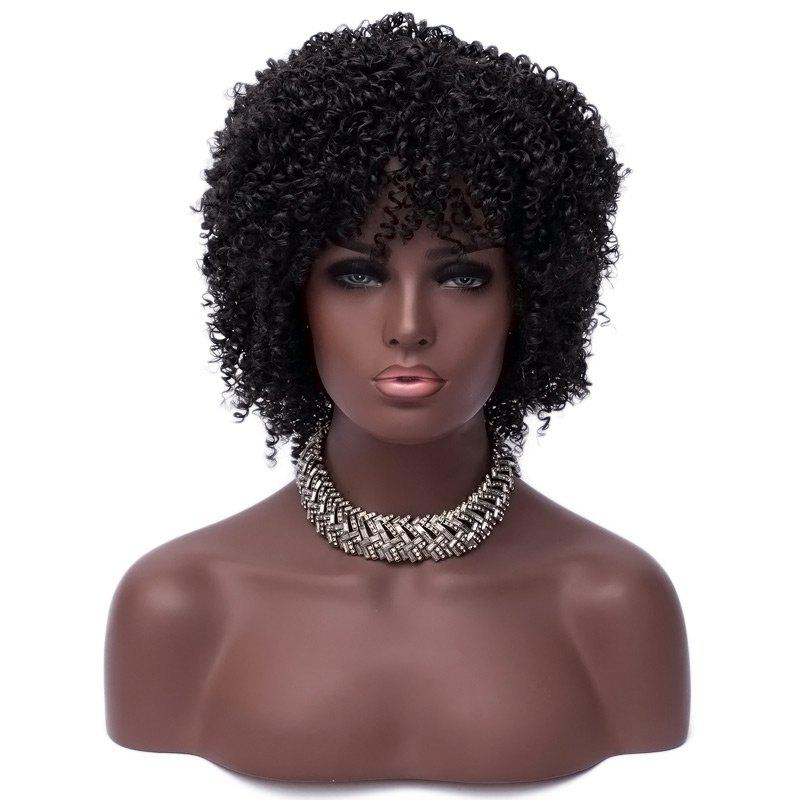 Short Side Bang Fluffy Kinky Curly Synthetic Fiber Wig - BLACK