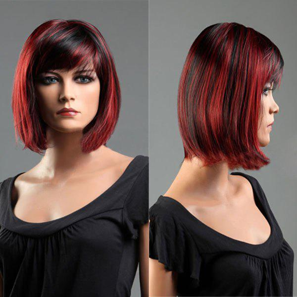 Short Colormix Side Bang Straight Bob Synthetic Wig - COLORMIX