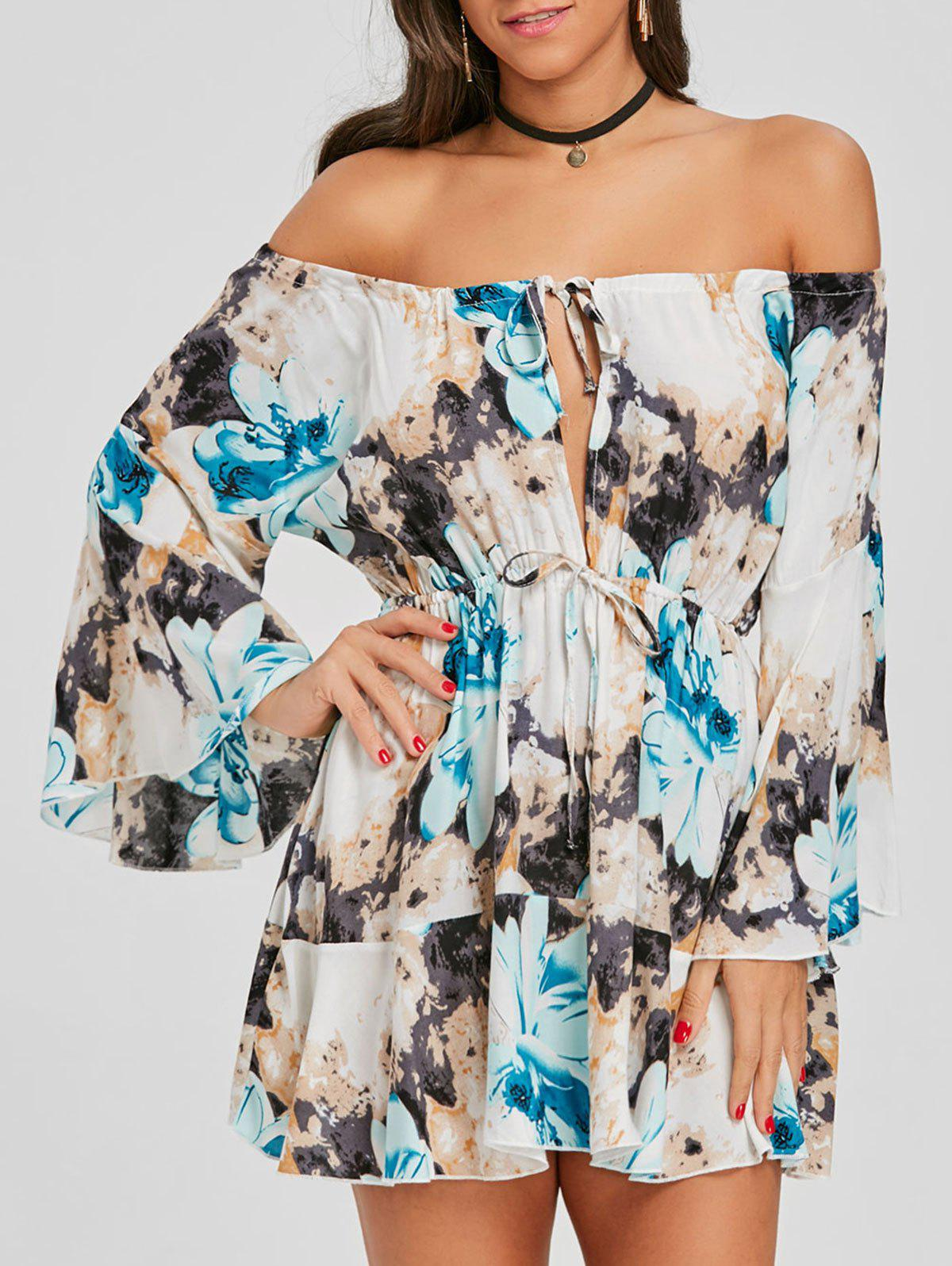 Print Off The Shoulder Swing Dress - BLUE L