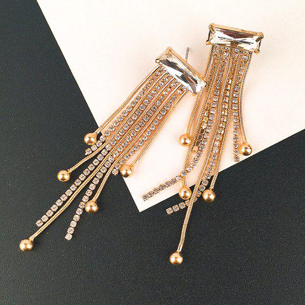 Statement Rhinestone Fringed Chain Drop Earrings - GOLDEN