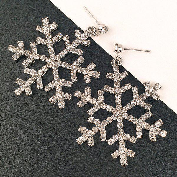 Sparkly Rhinestoned Snowflake Drop Earrings - SILVER