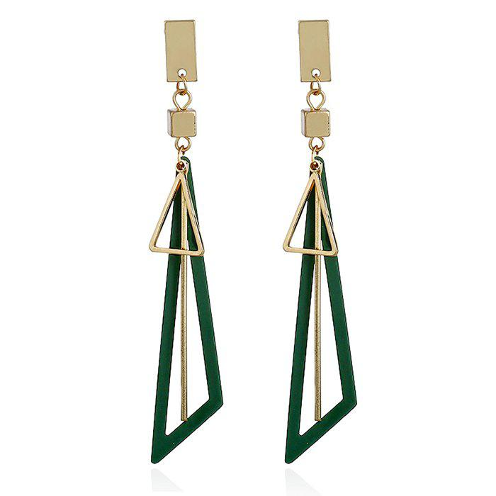 Alloy Bar Triangle Drop Earrings - GREEN