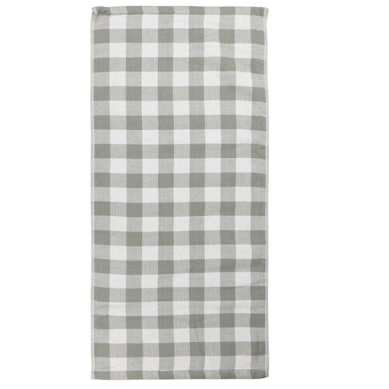 Cotton Plaid Strong Water Absorption Towel - GREEN 34*75CM