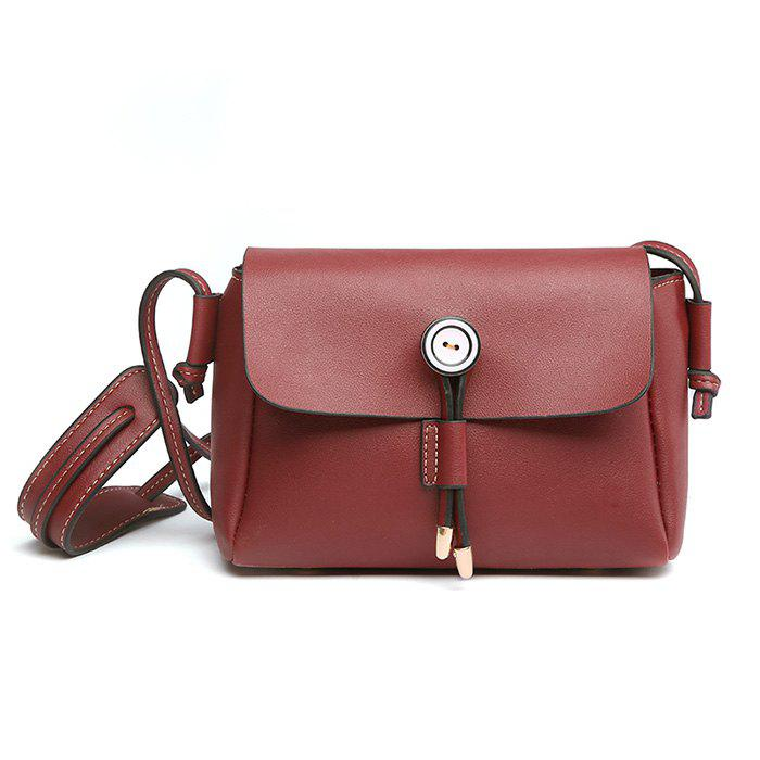 PU Leather Preppy Crossbody Bag - RED