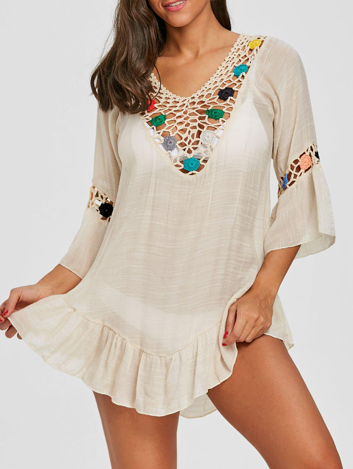 Flounce Crochet Insert Tunic Cover Up - LIGHT KHAKI ONE SIZE