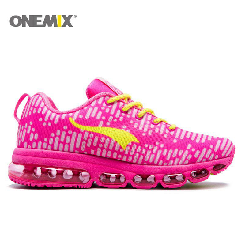ONEMIX Outdoor Air Cushion Lace Up Sport Shoes - PLUM 36