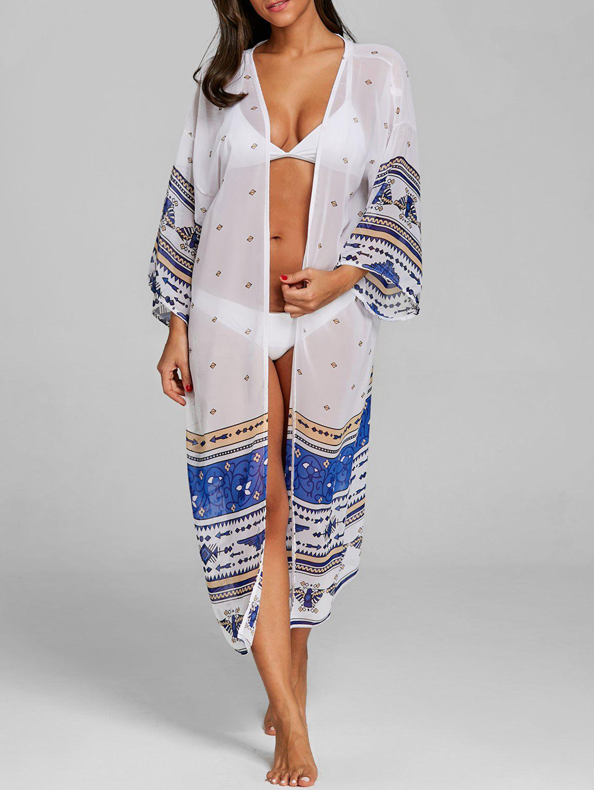 See Thru Long Boho Print Cover Up - WHITE ONE SIZE