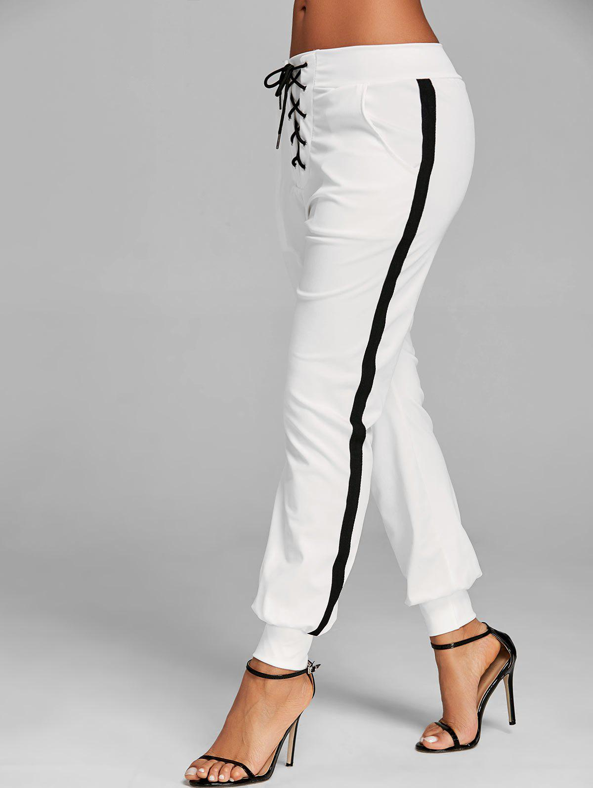 Lace Up Contrast Jogging Pants - WHITE M