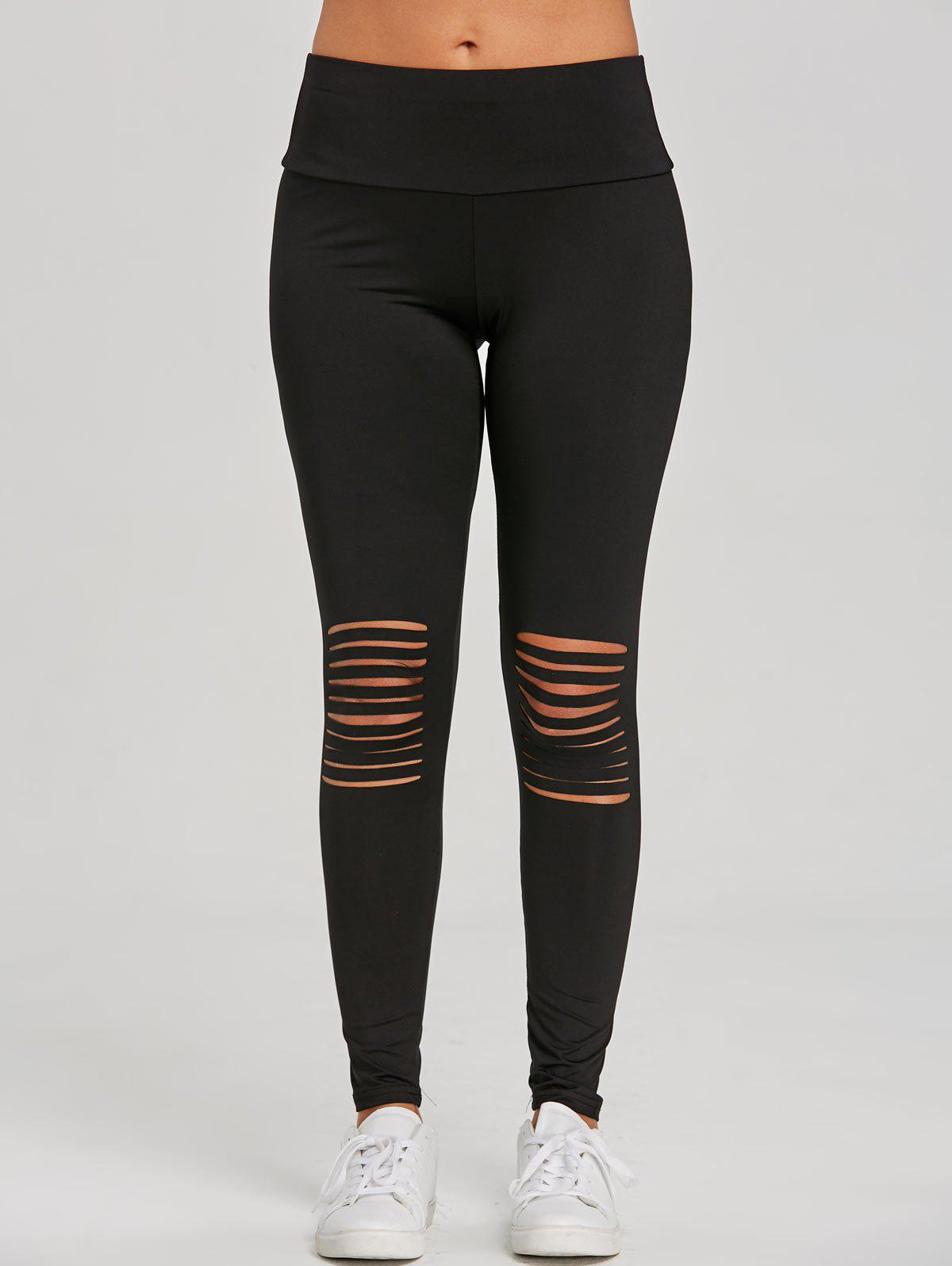 Skinny Distressed Sports Leggings - BLACK XL