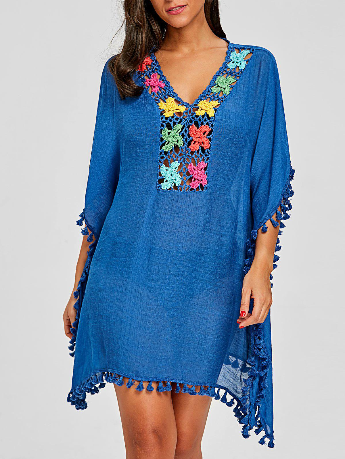Tassel Trim Crochet Knit Cover Up - BLUE ONE SIZE