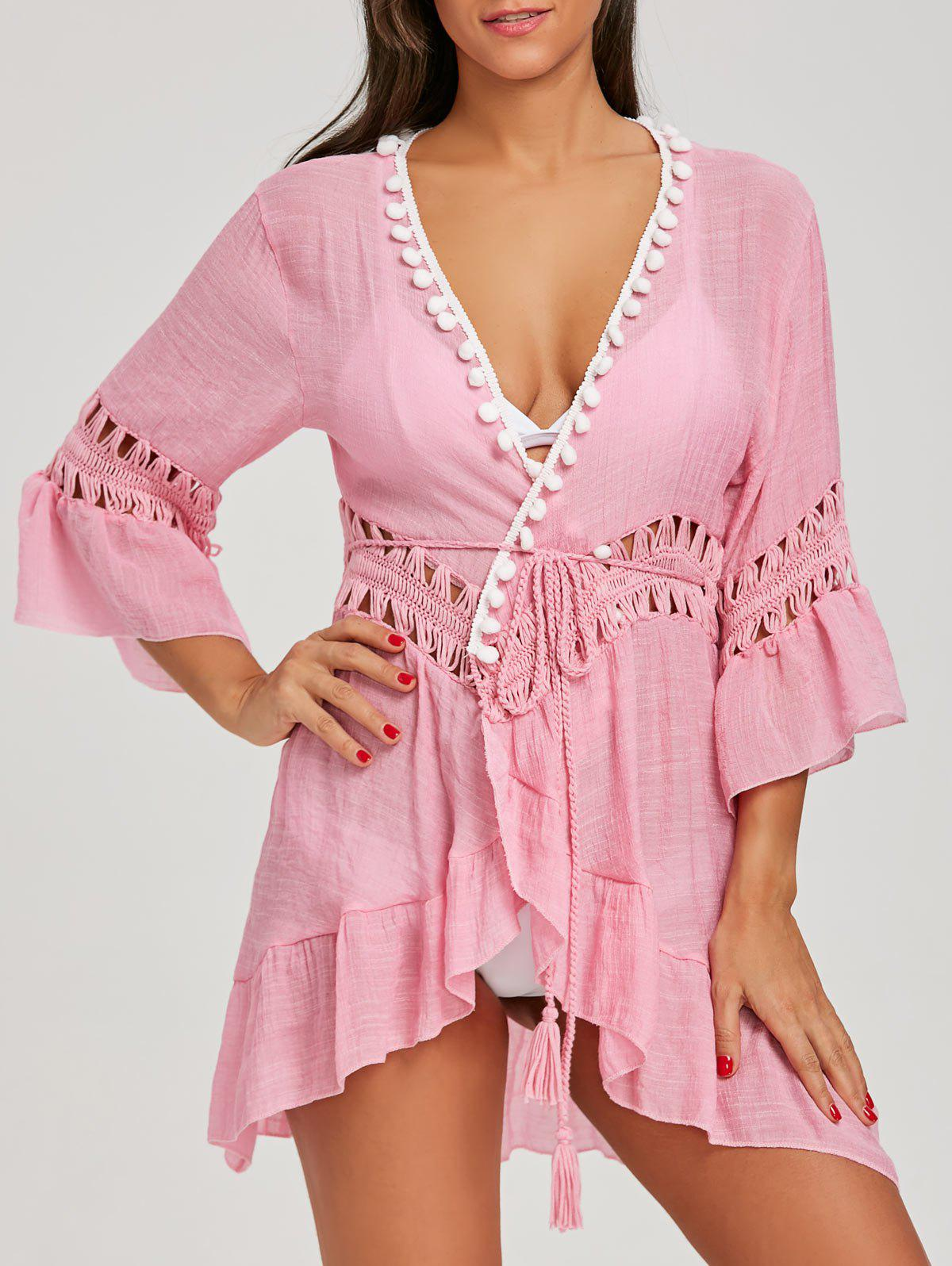 Robe de Plage à Volants avec Bordures à Pompons - Rose ONE SIZE