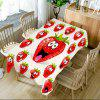 Strawberry Emoji Printed Table Cloth - RED W54 INCH * L72 INCH