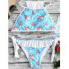 Ruffle Trim Side Tie Floral Bikini - LIGHT BLUE S