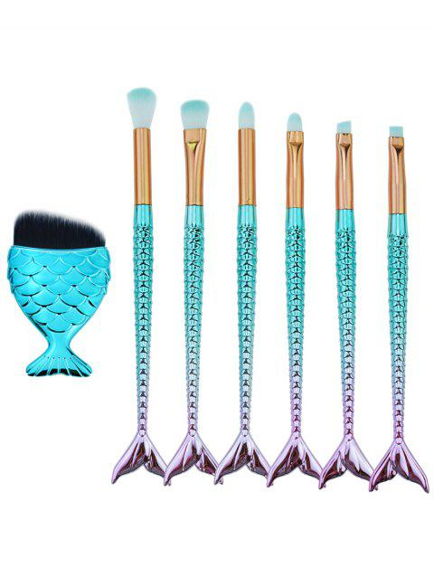 7Pcs Mermaid Shaped Ultra Soft Synthetic Fiber Hair Eye Makeup Brush Set - GRADUAL GREEN