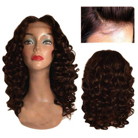 Long Center Part Body Wave Lace Front Synthetic Wig - DEEP BROWN 24INCH