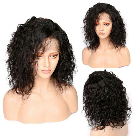 Medium Inclined Bang Shaggy Natural Wavy Synthetic Lace Front Wig - NATURAL BLACK 14INCH