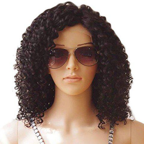 Medium Side Bang Fluffy Kinky Curly Synthetic Lace Front Wig - DEEP BROWN 16INCH
