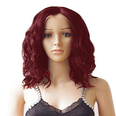 Middle Parting Medium Wavy Synthetic Lace Front Wig - WINE RED 12INCH