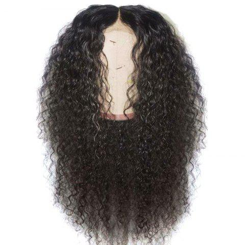 Long Center Parting Fluffy Curly Synthetic Lace Front Wig - NATURAL BLACK 24INCH