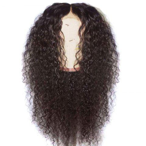 Long Center Parting Fluffy Curly Synthetic Lace Front Wig - DEEP BROWN 22INCH