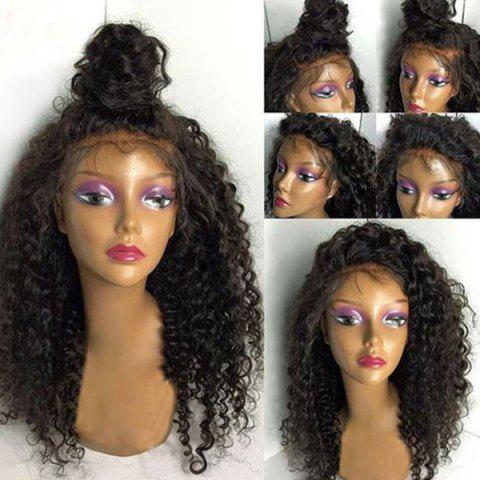 Free Part Fluffy Long Deep Wave Synthetic Lace Front Wig - NATURAL BLACK 24INCH