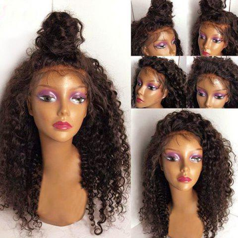 Free Part Fluffy Long Deep Wave Synthetic Lace Front Wig - DEEP BROWN 20INCH