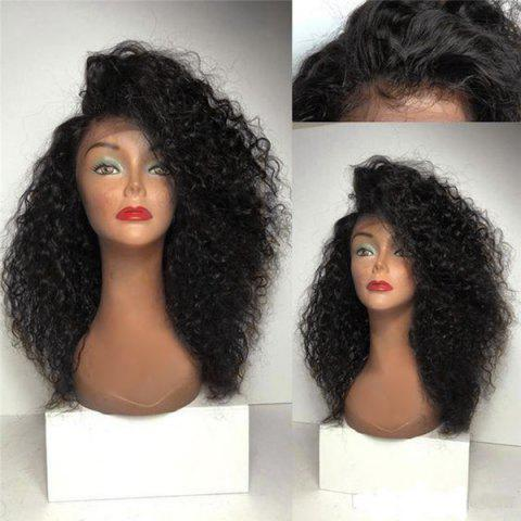 Long Deep Side Parting Shaggy Curly Synthetic Lace Front Wig - NATURAL BLACK 18INCH