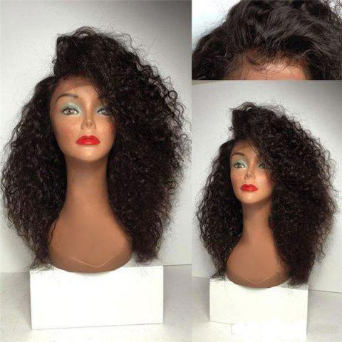 Long Deep Side Parting Shaggy Curly Synthetic Lace Front Wig - DEEP BROWN 18INCH