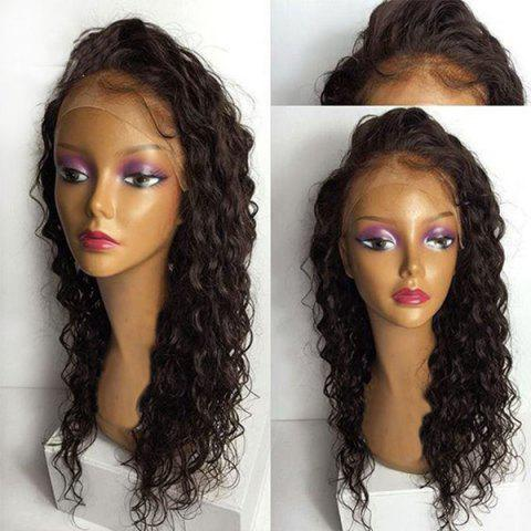 Lace Front Long Free Part Water Wave Synthetic Wig - DEEP BROWN 24INCH
