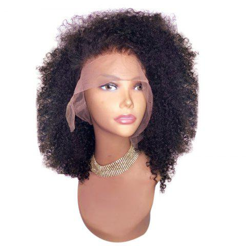 Medium Free Part Fluffy Afro Curly Synthetic Lace Front Wig - DEEP BROWN 12INCH