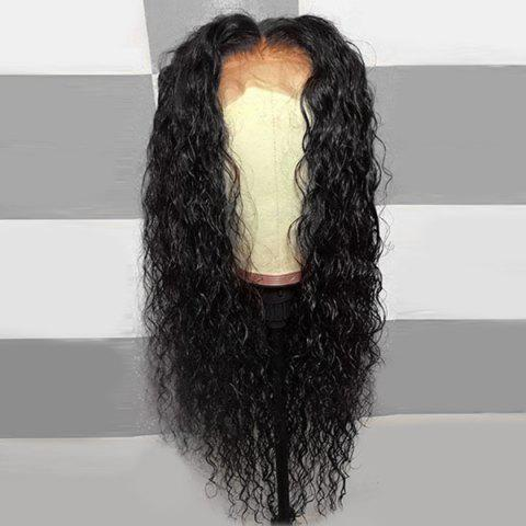 Long Middle Part Fluffy Curly Lace Front Synthetic Wig - NATURAL BLACK 24INCH