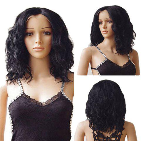 Middle Parting Medium Wavy Synthetic Lace Front Wig - NATURAL BLACK 14INCH