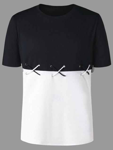 Color Block Lace Up Tee - WHITE/BLACK XL