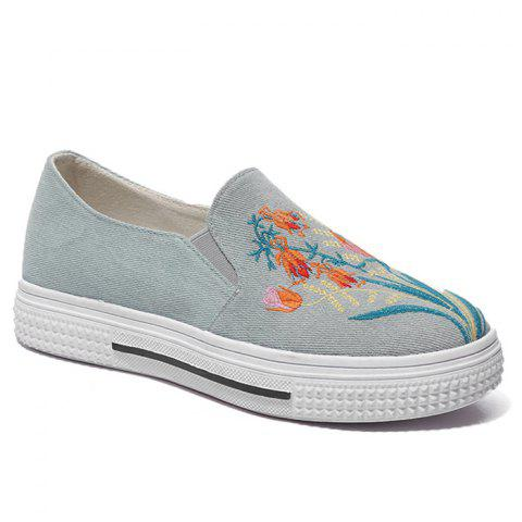 Denim Flower Embroidery Slip On Sneakers - BLUE 36