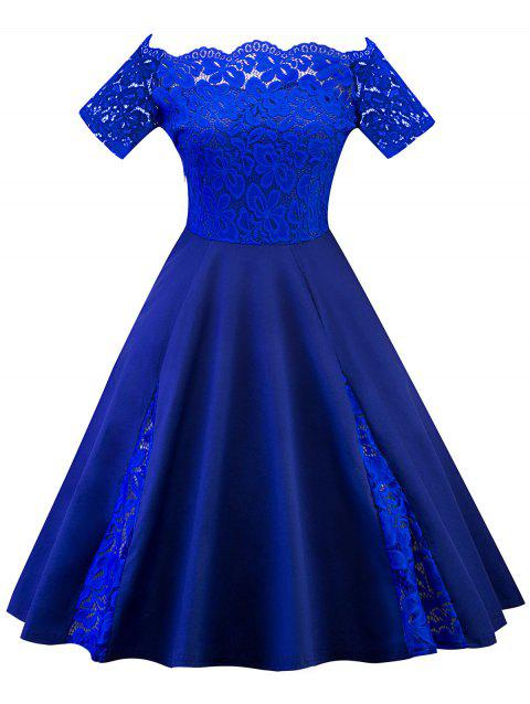 37d0bdcf58e0 41% OFF] 2019 Plus Size Off Shoulder Lace Panel Dress In ROYAL BLUE ...