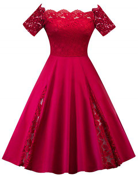 Plus Size Off Shoulder Lace Panel Dress - BRIGHT RED 5XL