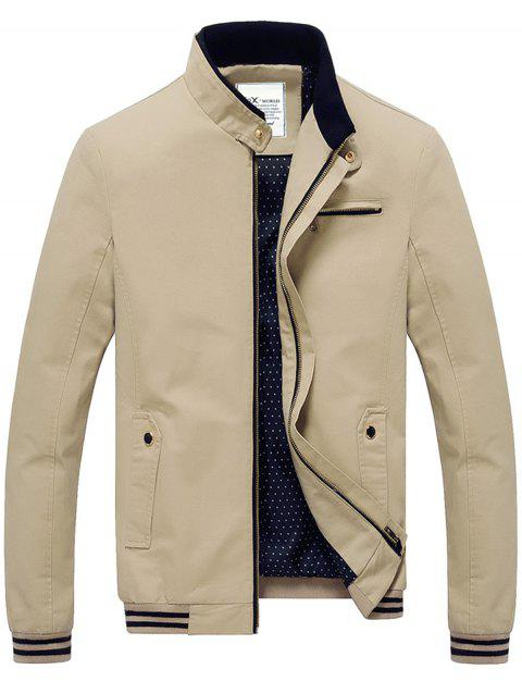 Chest Zipper Stand Collar Jacket - LIGHT KHAKI XL