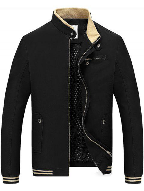 Chest Zipper Stand Collar Jacket - BLACK 4XL